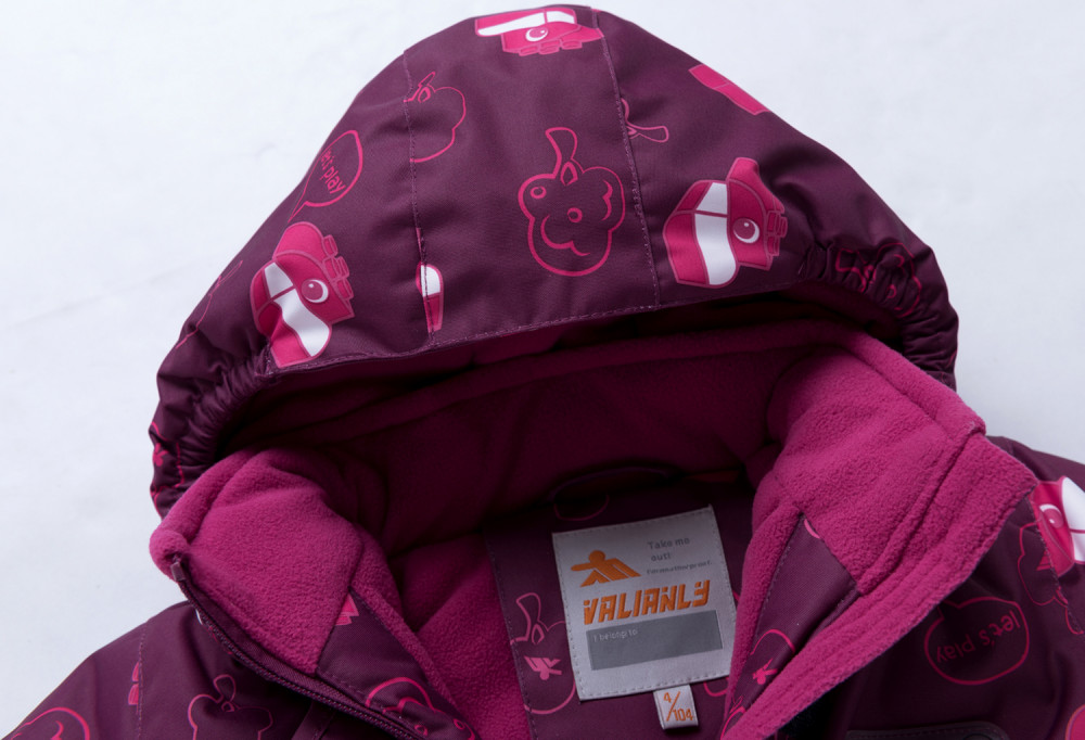 Купить оптом Горнолыжный костюм детский малинового цвета 8914M в Казани