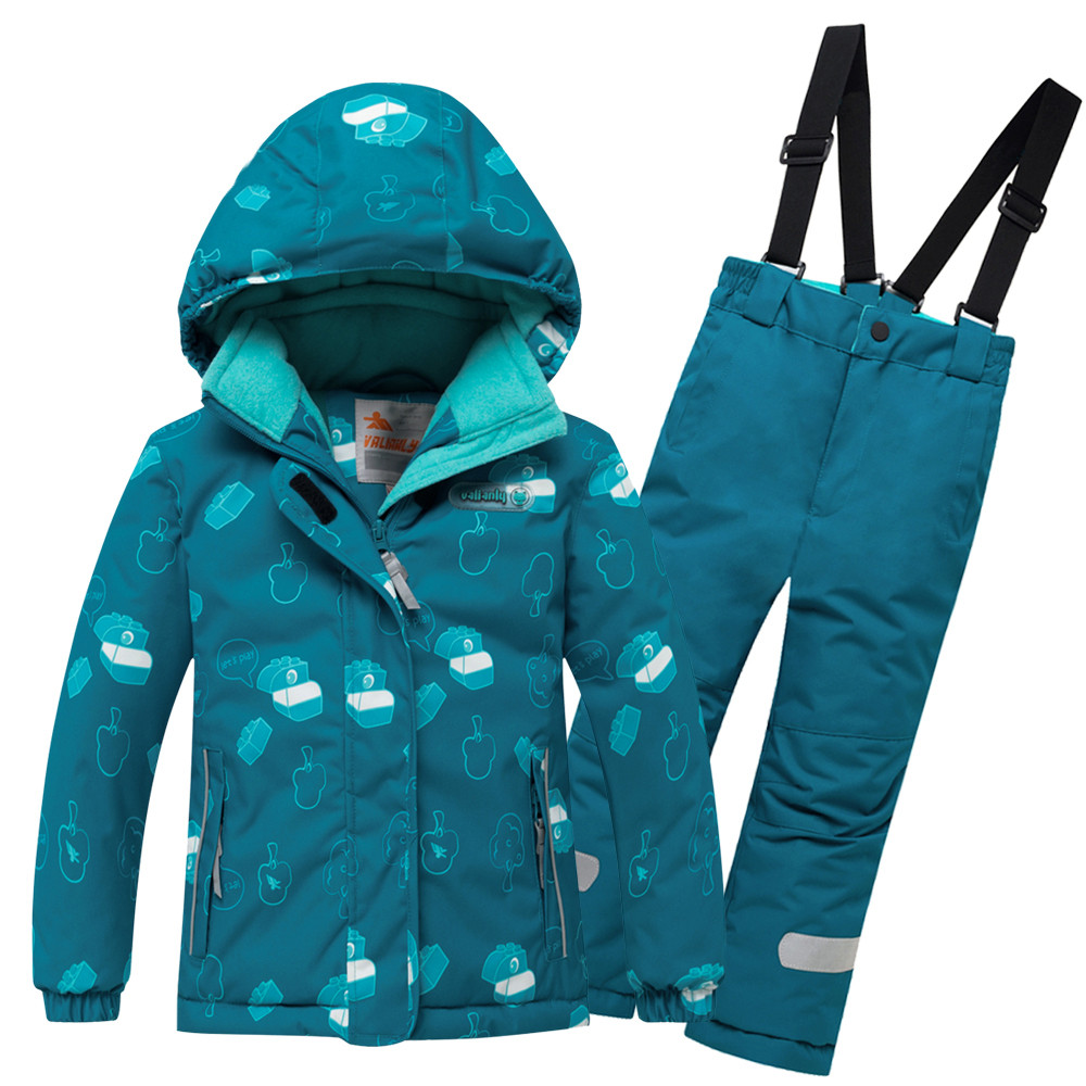 Купить оптом Горнолыжный костюм детский бирюзового цвета 8914Br в Волгоградке