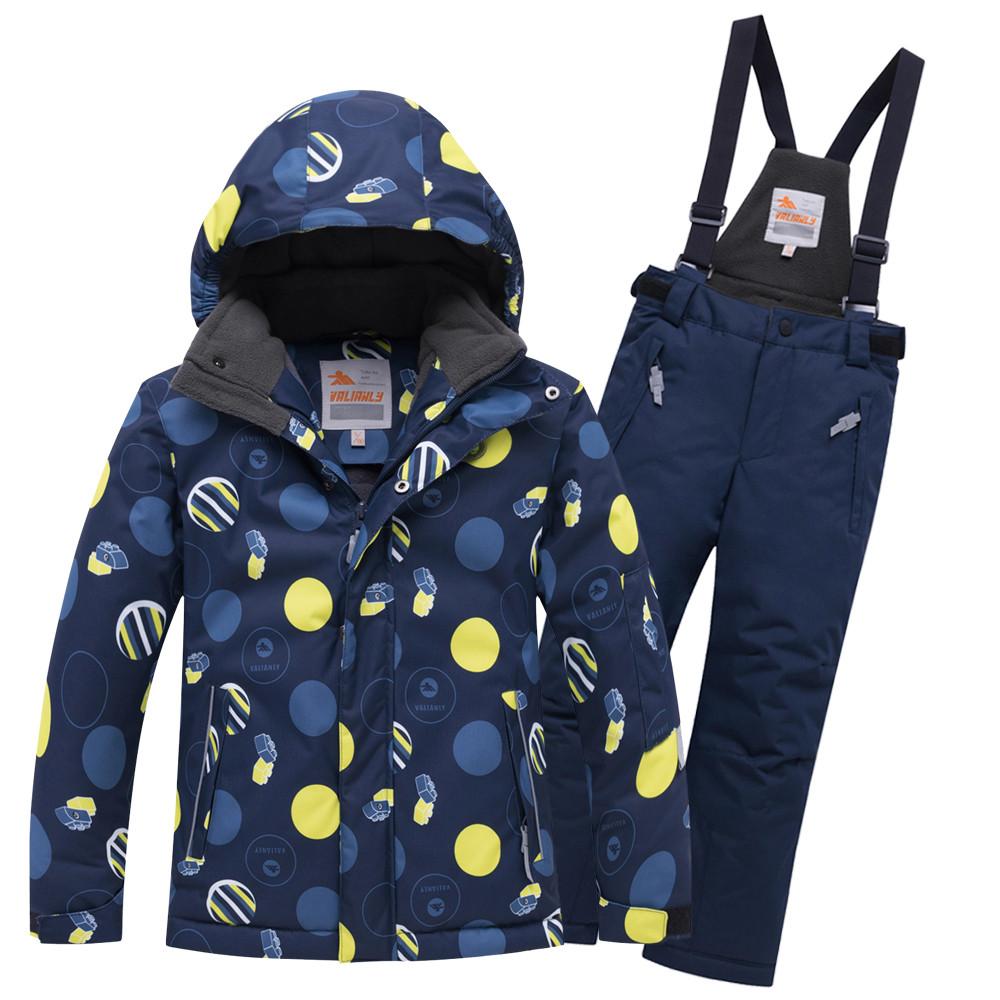 Купить оптом Горнолыжный костюм подростковый для мальчика темно-синего цвета 8915TS в Нижнем Новгороде