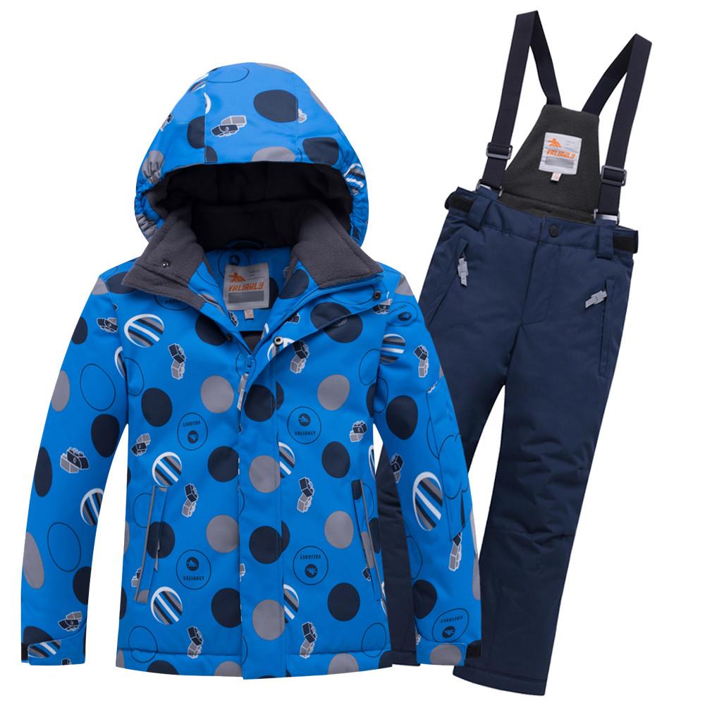 Купить оптом Горнолыжный костюм подростковый для мальчика синего цвета 8915S в Нижнем Новгороде