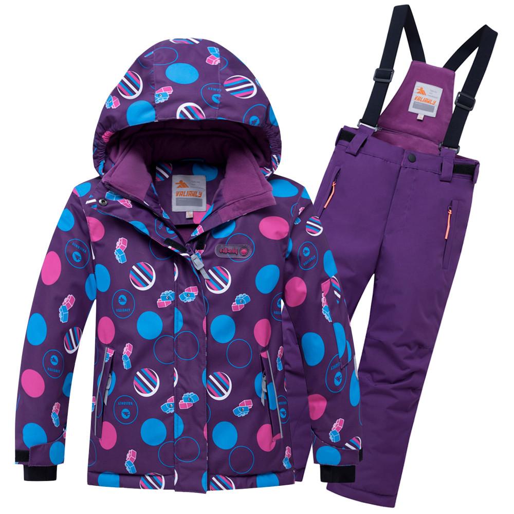 Купить оптом Горнолыжный костюм подростковый для девочки фиолетового цвета 8916F