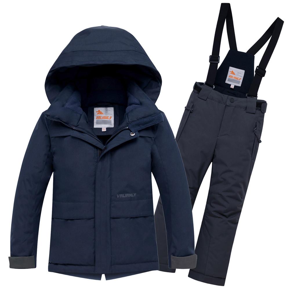 Купить оптом Горнолыжный костюм для мальчика темно-синего цвета 8921TS