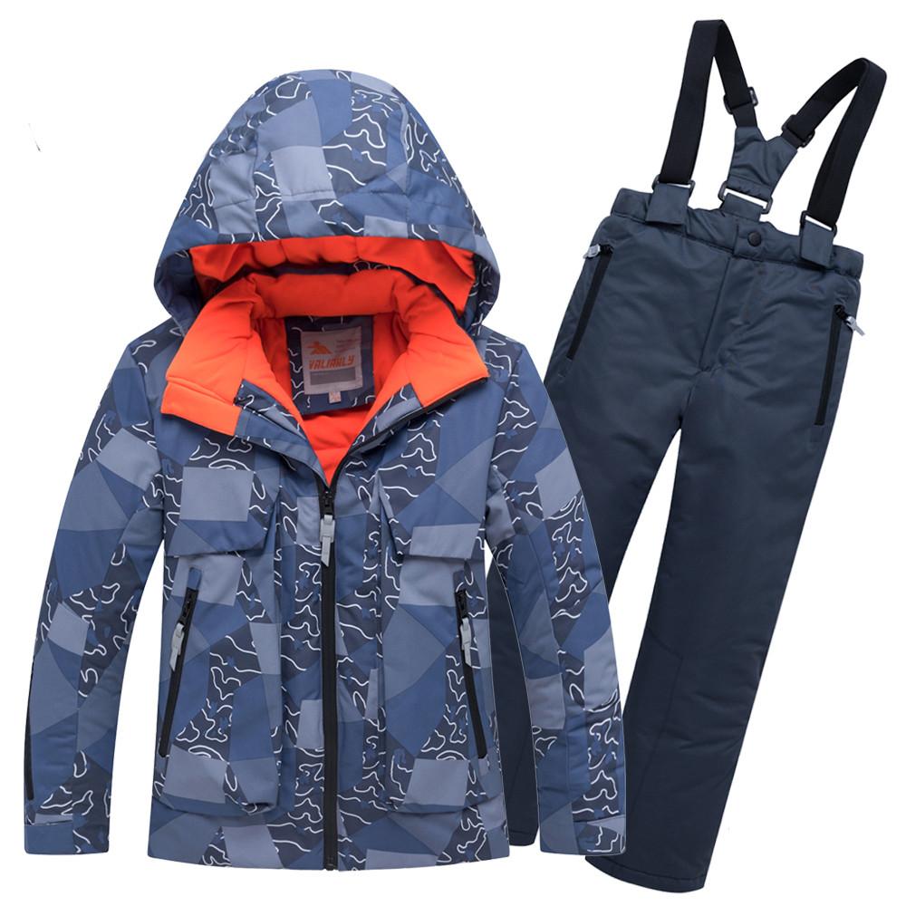Купить оптом Горнолыжный костюм подростковый для мальчика синий 8923S