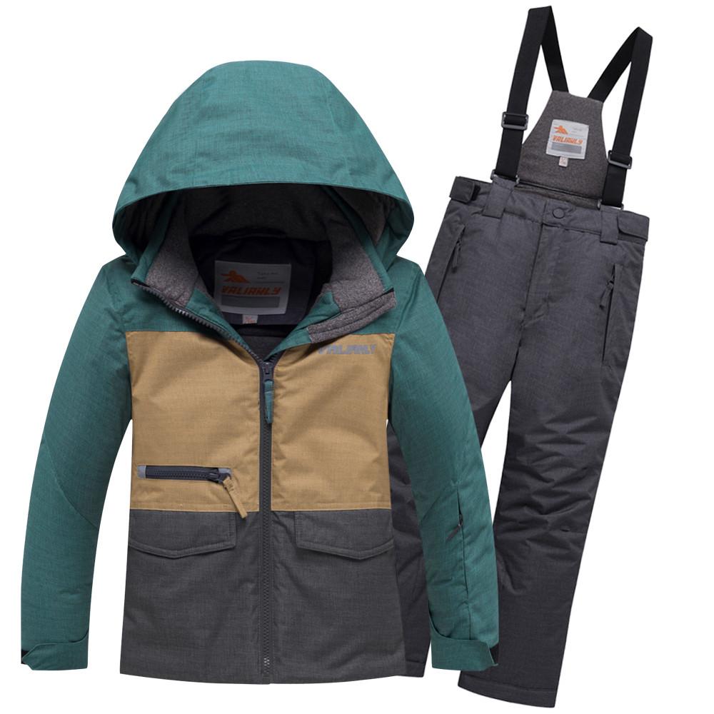 Купить оптом Горнолыжный костюм подростковый для мальчика зеленого цвета 8929Z в  Красноярске