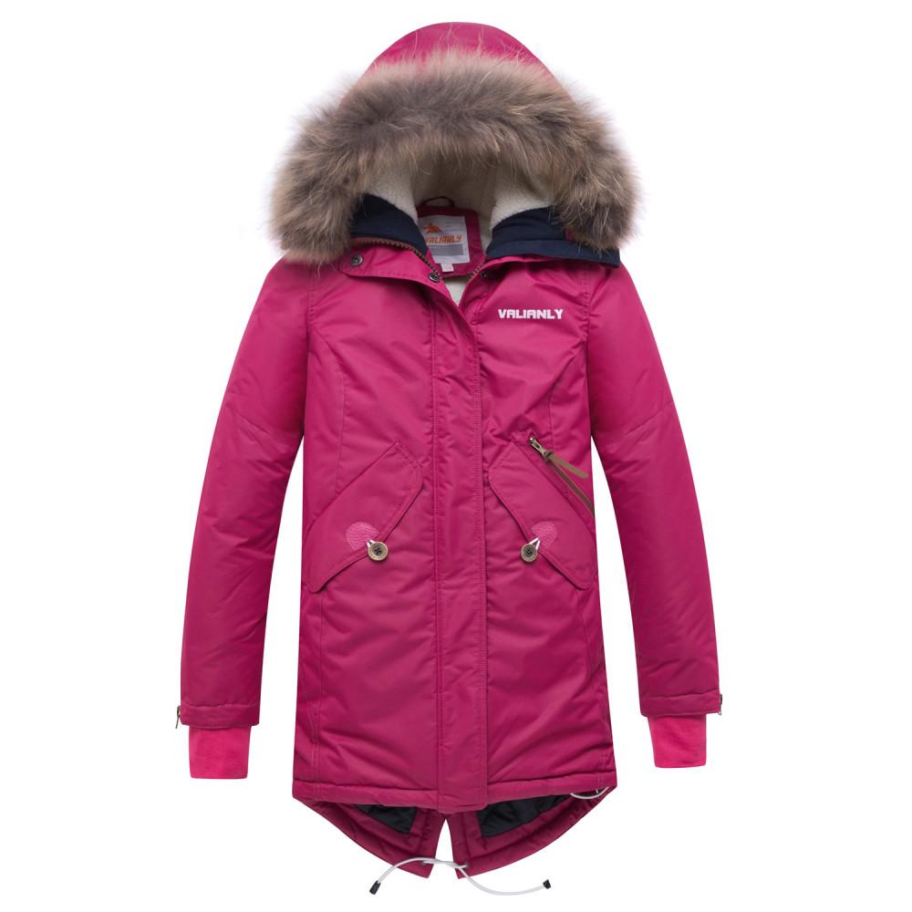 Купить оптом Куртка парка зимняя подростковая для девочки малинового цвета 8934M в  Красноярске