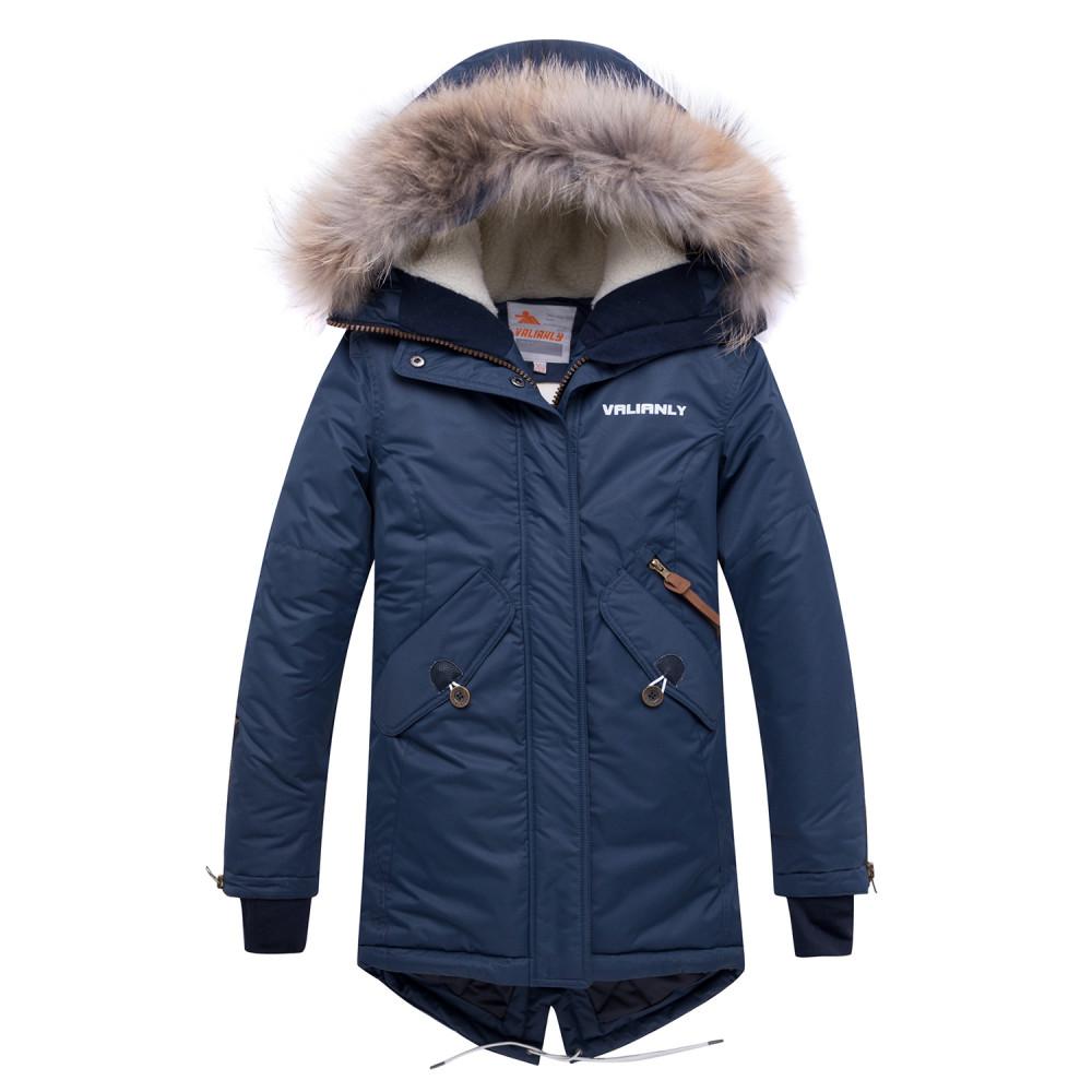 Купить оптом Куртка парка зимняя подростковая для девочки темно-синего цвета 8934TS в Нижнем Новгороде