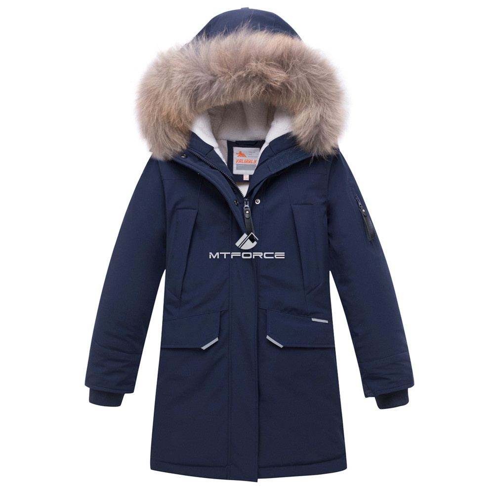 Купить оптом Куртка парка зимняя подростковая для мальчика темно-синего цвета 8936TS в Казани