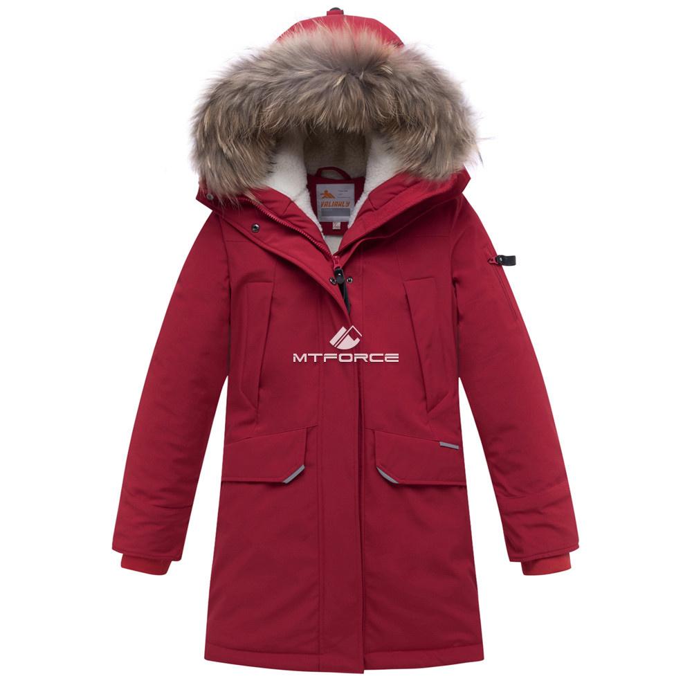 Купить оптом Куртка парка зимняя подростковая для мальчика бордового цвета 8936Bo в Казани