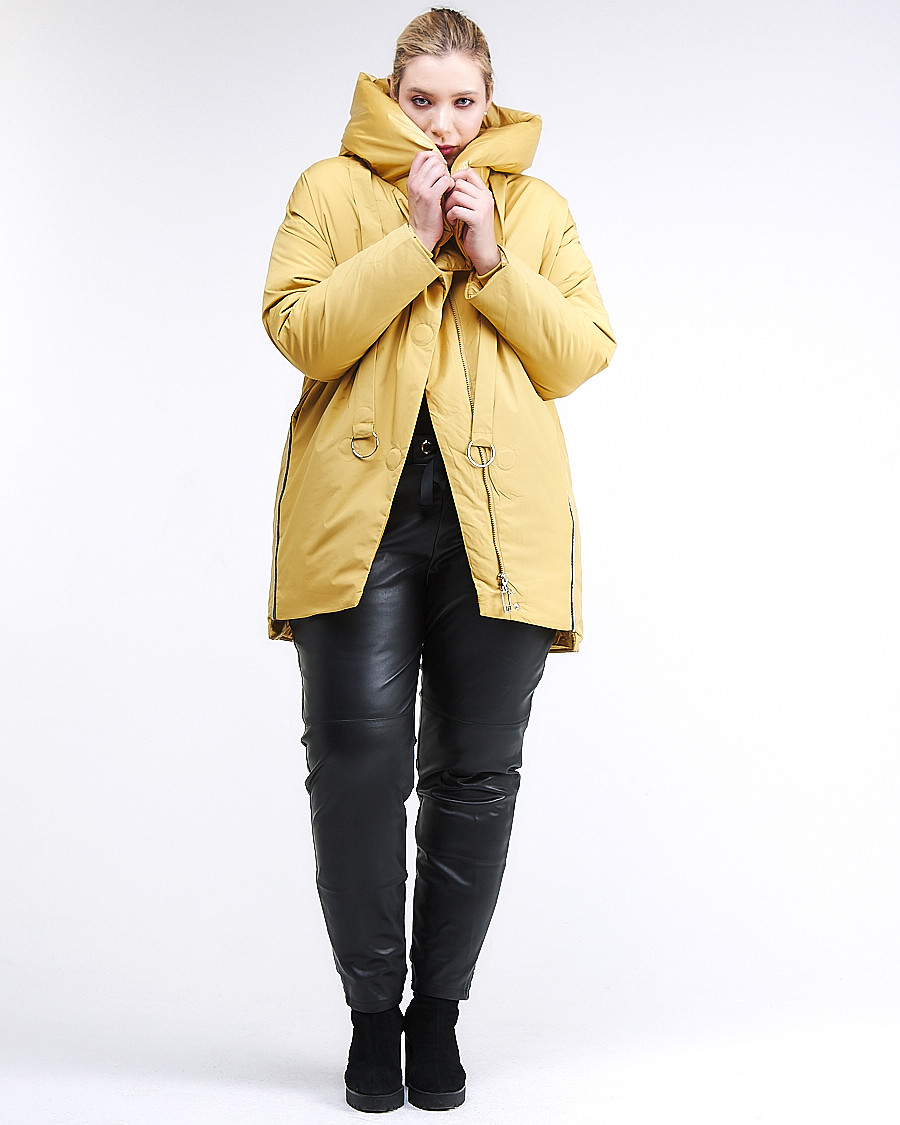 Купить оптом Куртка зимняя женская молодежная батал желтого цвета 90-911_56J в Казани