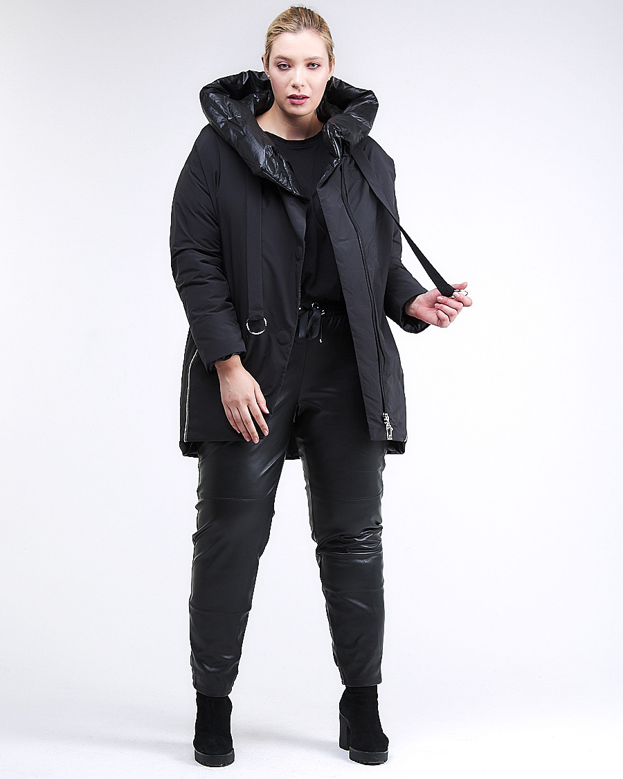 Купить оптом Куртка зимняя женская молодежная батал черного цвета 90-911_701Ch в Нижнем Новгороде