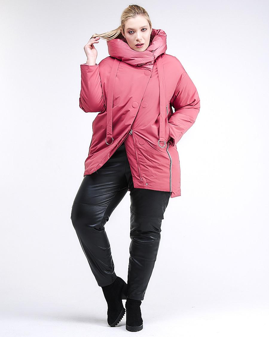 Купить оптом Куртка зимняя женская молодежная батал персикового цвета 90-911_75P в Казани