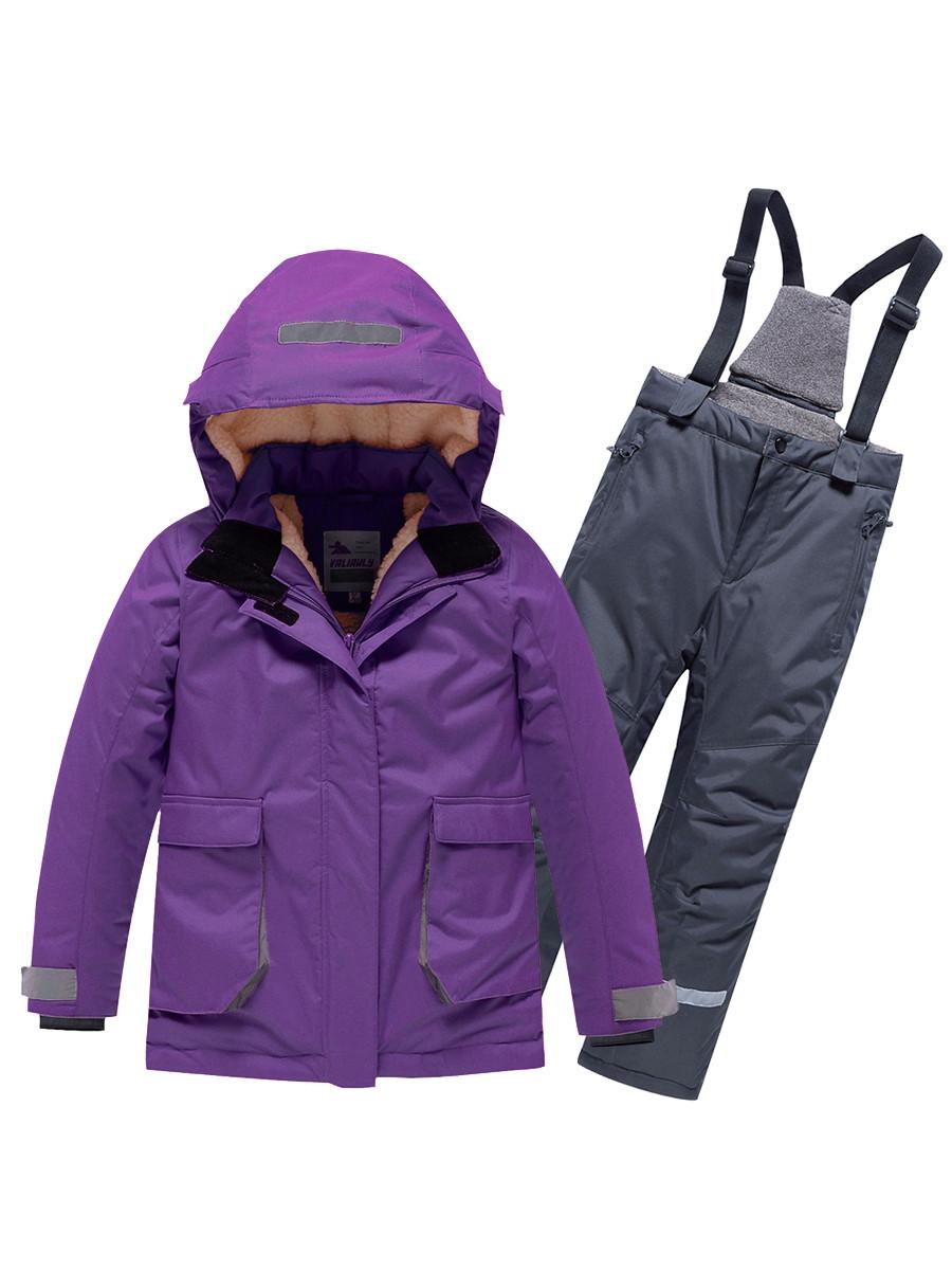 Купить оптом Горнолыжный костюм Valianly детский темно-фиолетового цвета 9004TF