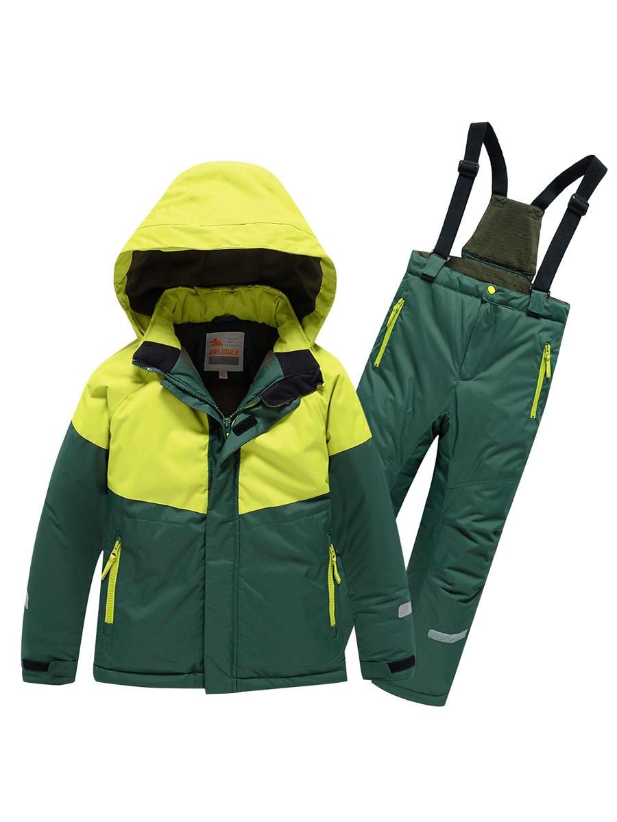 Купить оптом Горнолыжный костюм Valianly детский темно-зеленого цвета 90071TZ в Екатеринбурге