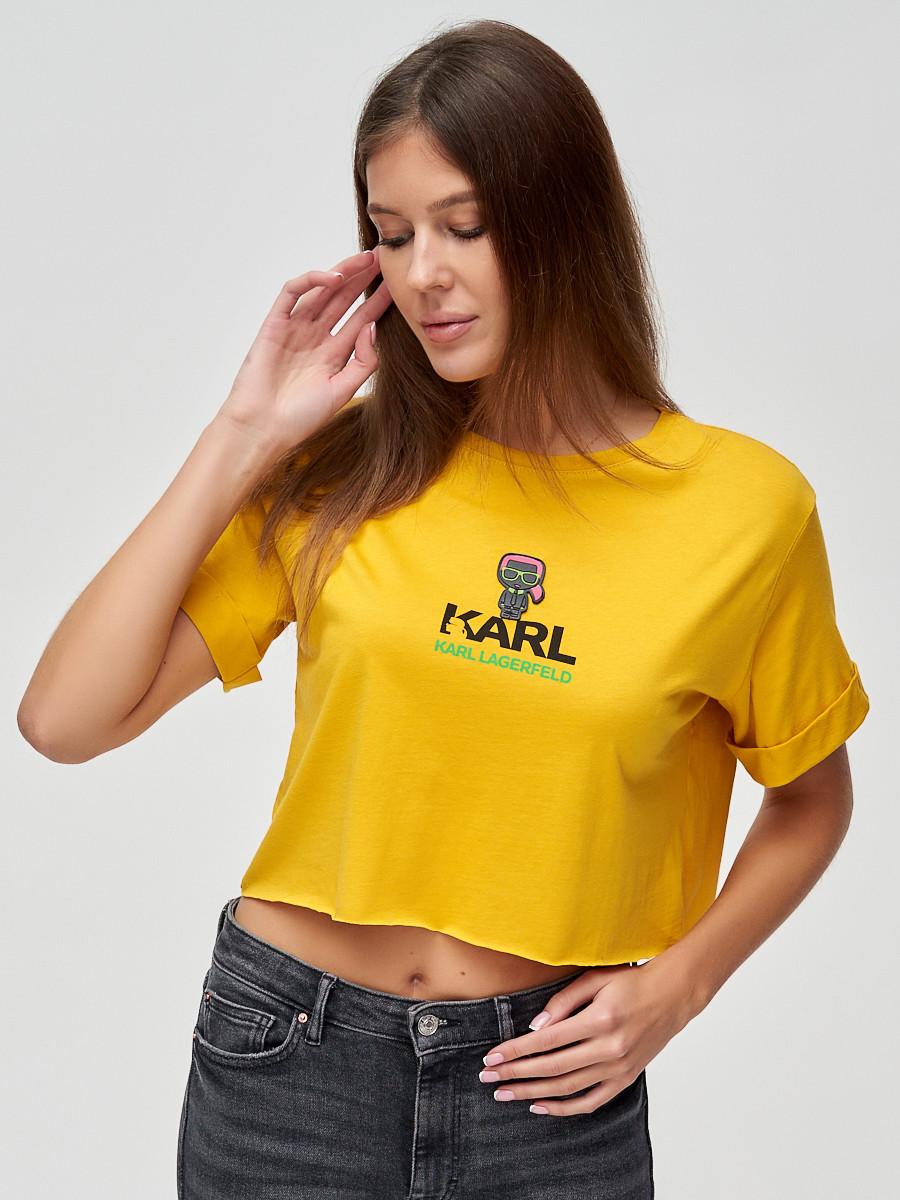 Купить оптом Топ футболка женская горчичного цвета 9008G
