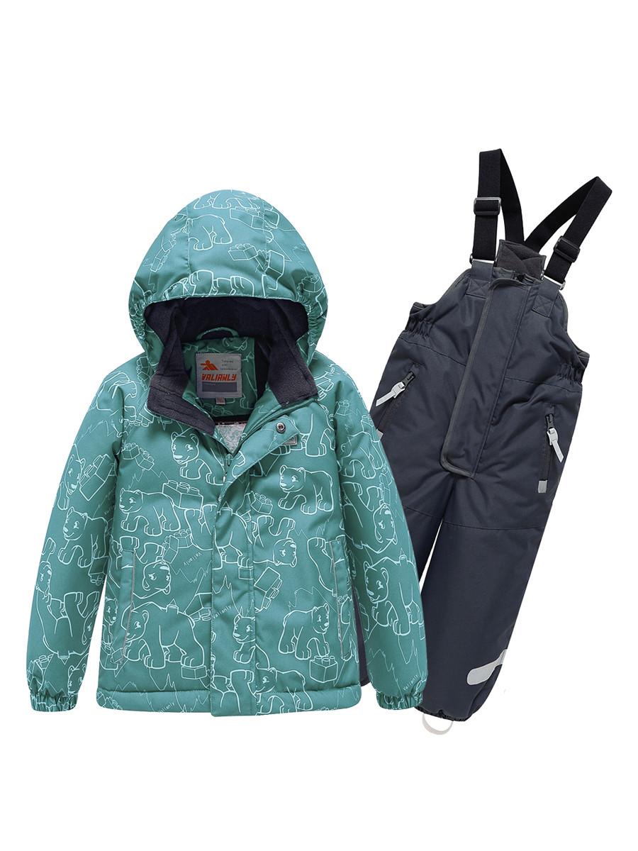 Купить оптом Горнолыжный костюм Valianly детский зеленого цвета 9011Z в Екатеринбурге