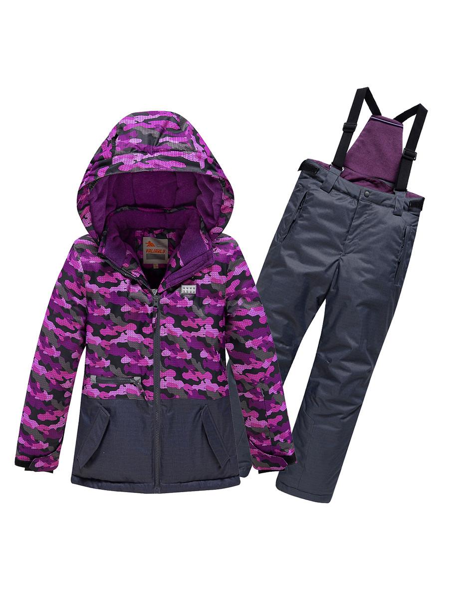 Купить оптом Горнолыжный костюм Valianly для девочки темно-фиолетового цвета 9016TF в Екатеринбурге