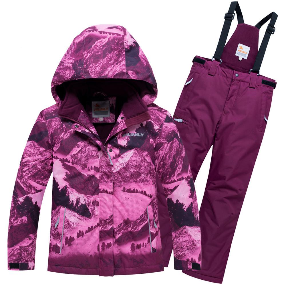 Купить оптом Горнолыжный костюм для девочки Valianly малинового цвета 9022M
