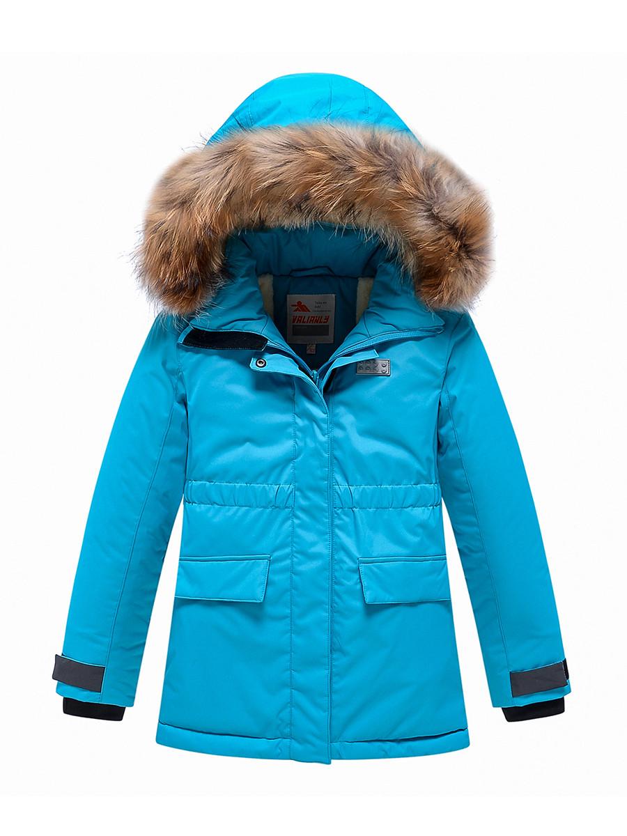Купить оптом Парка зимняя Valianly для девочки голубого цвета 9034Gl в Екатеринбурге