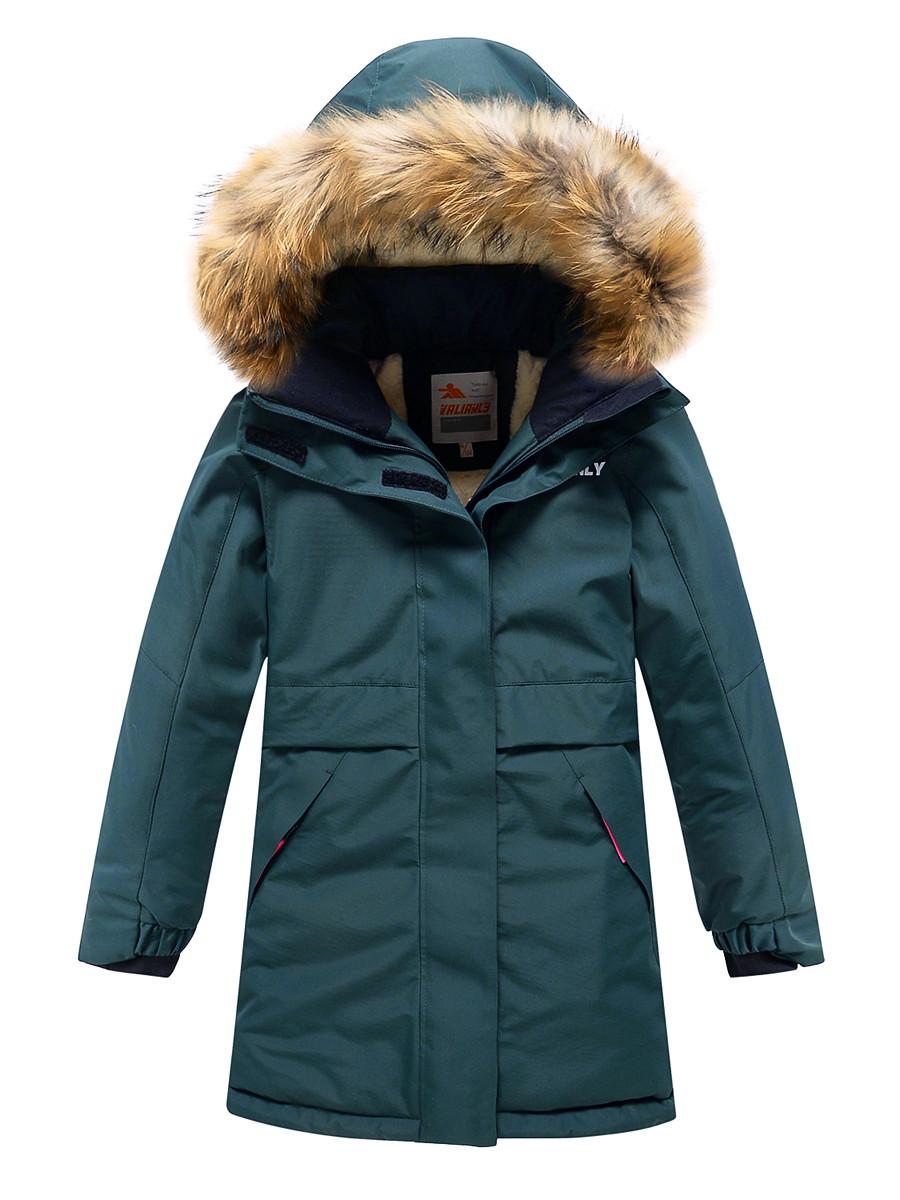 Купить оптом Парка зимняя Valianly для девочки темно-зеленого цвета 9036TZ