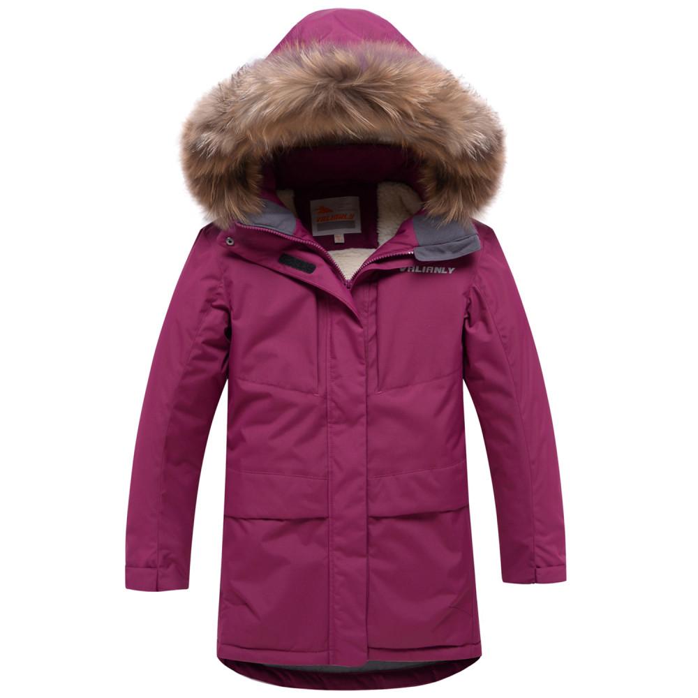 Купить оптом Парка зимняя для девочки Valianly малинового цвета 9038M