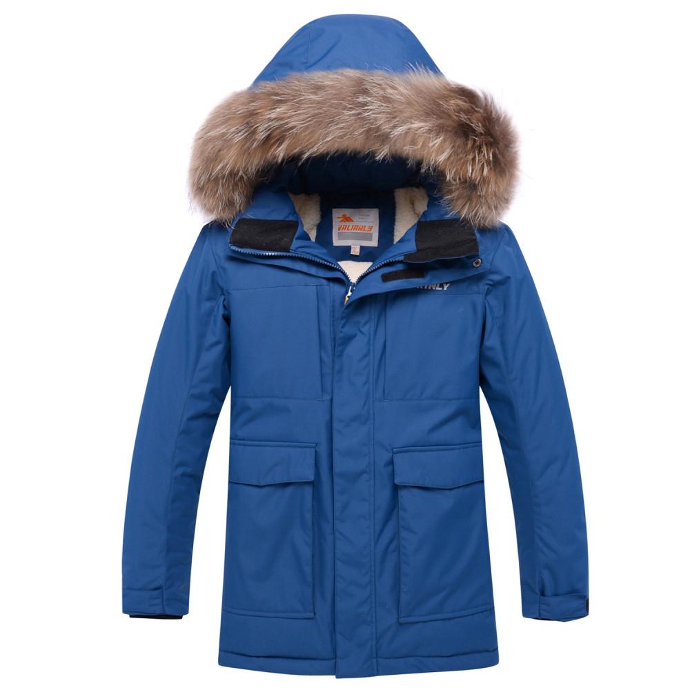 Купить оптом Парка зимняя для мальчика Valianly синего цвета 9041S