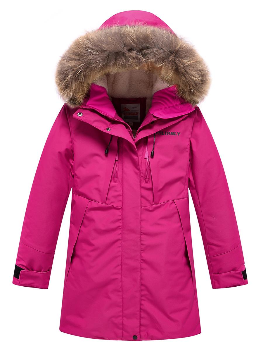 Купить оптом Парка зимняя Valianly для девочки розового цвета 9042R