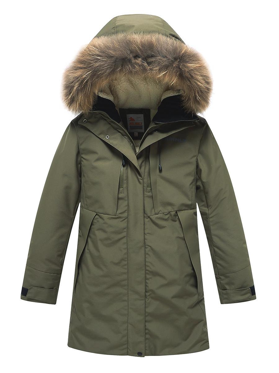 Купить оптом Парка зимняя Valianly для девочки хаки цвета 9042Kh