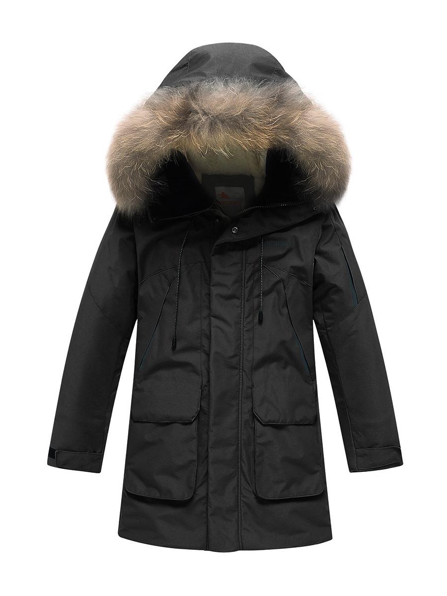 Купить оптом Парка зимняя Valianly для мальчика черного цвета 90431Ch