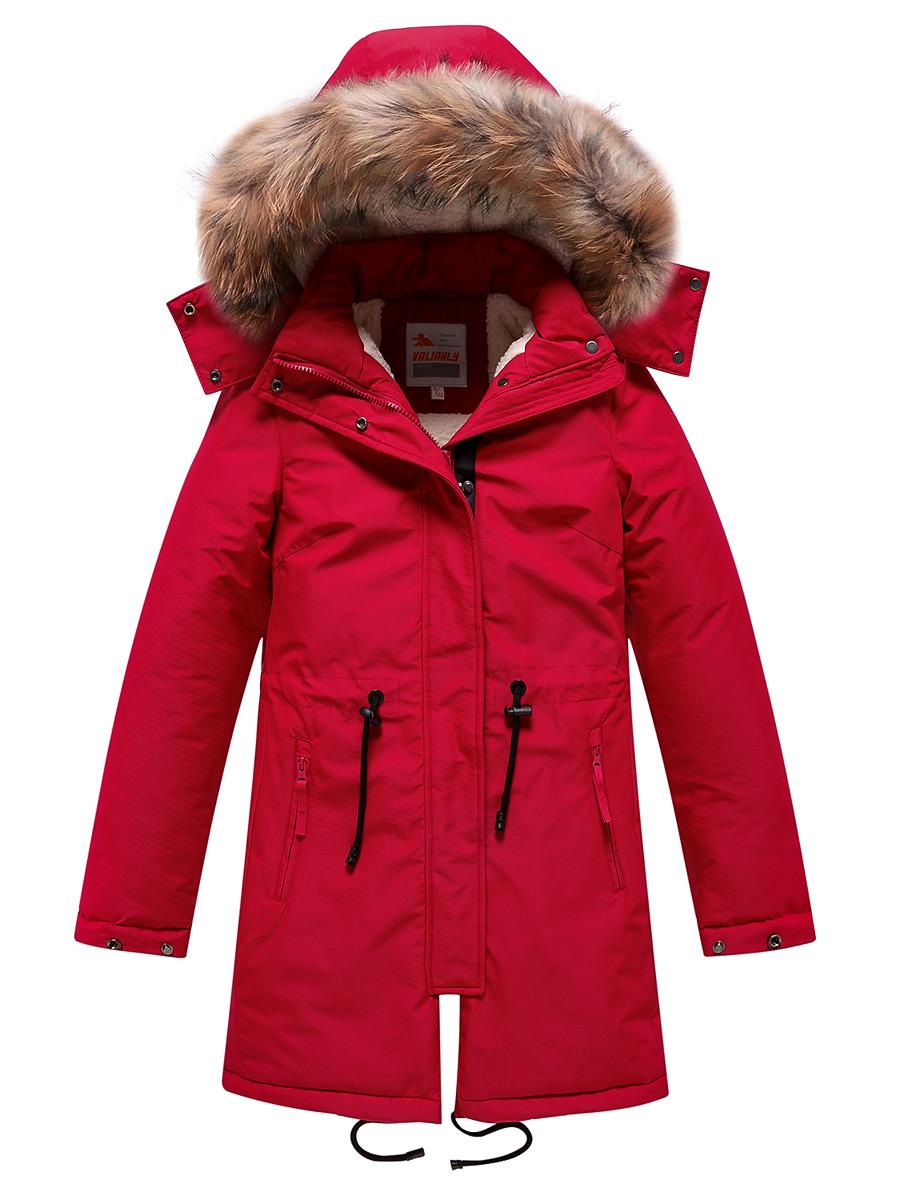 Купить оптом Парка зимняя Valianly для девочки красного цвета 9046Kr в Екатеринбурге