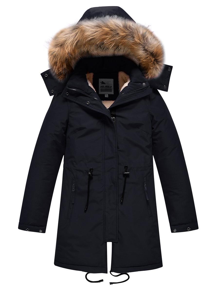 Купить оптом Парка зимняя Valianly для девочки черного цвета 9046Ch в Екатеринбурге