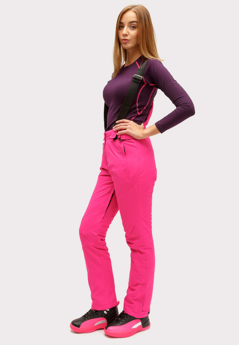 Купить оптом Брюки горнолыжные женские большого размера розового цвета 1878R в Казани