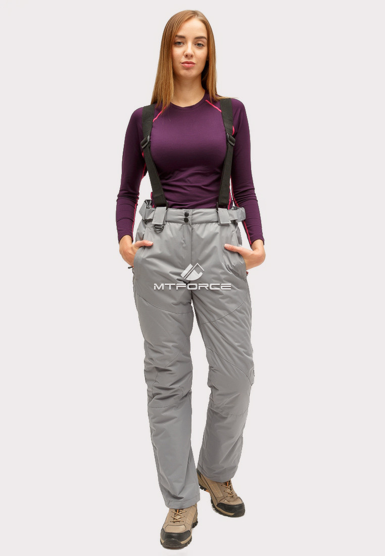 Купить оптом Брюки горнолыжные женские серого цвета 905Sr в Казани
