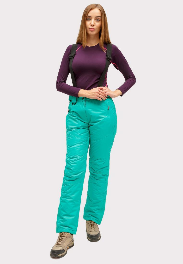 Купить оптом Брюки горнолыжные женские зеленого цвета 905-1Z в Омске