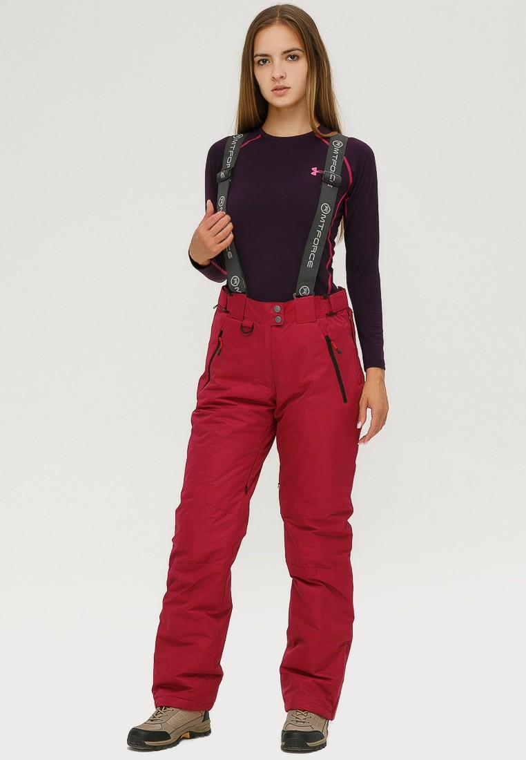 Купить оптом Брюки горнолыжные женские бордового цвета 906Bo в Воронеже