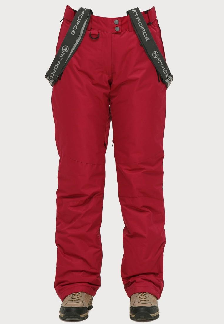 Купить оптом Брюки горнолыжные женские большого размера бордового цвета 1878Bo