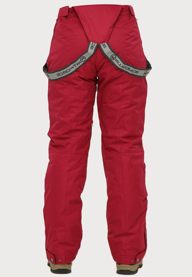 Купить оптом Брюки горнолыжные женские большого размера бордового цвета 1878Bo в Новосибирске