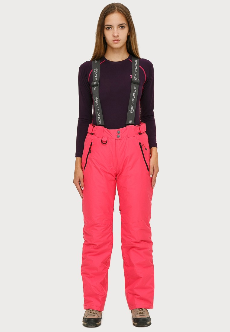 Купить оптом Брюки горнолыжные женские розового цвета 906R в Самаре