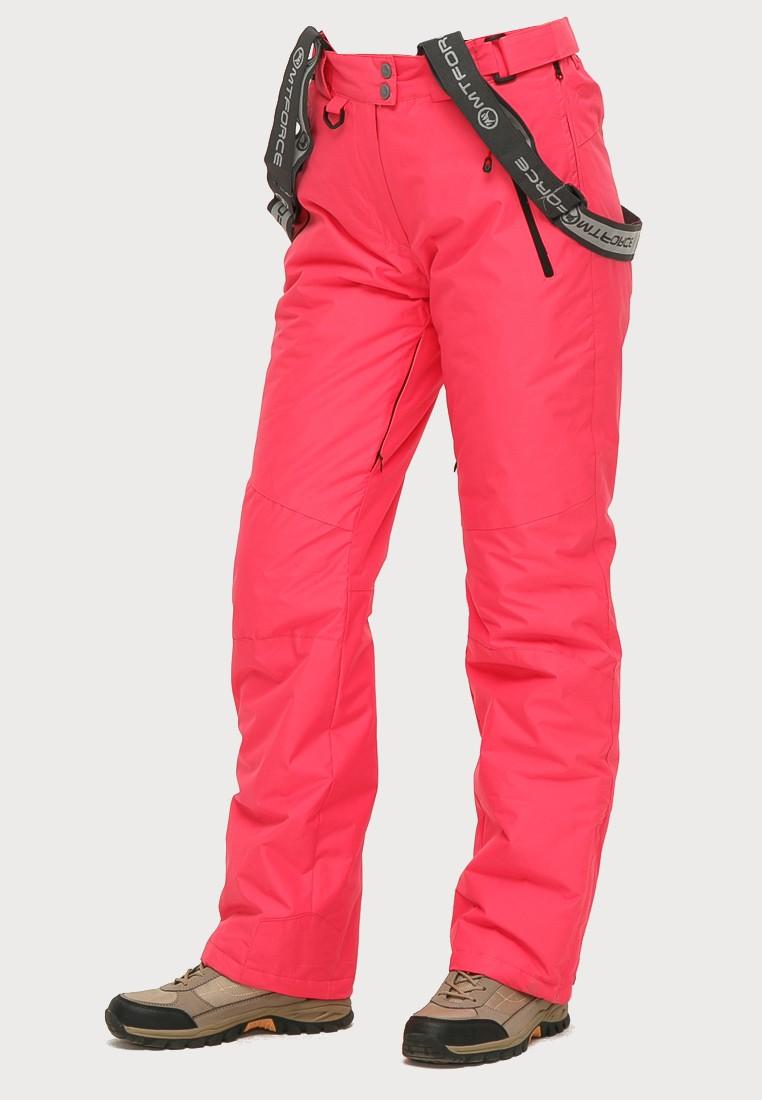 Купить оптом Брюки горнолыжные женские розового цвета 906R в Уфе