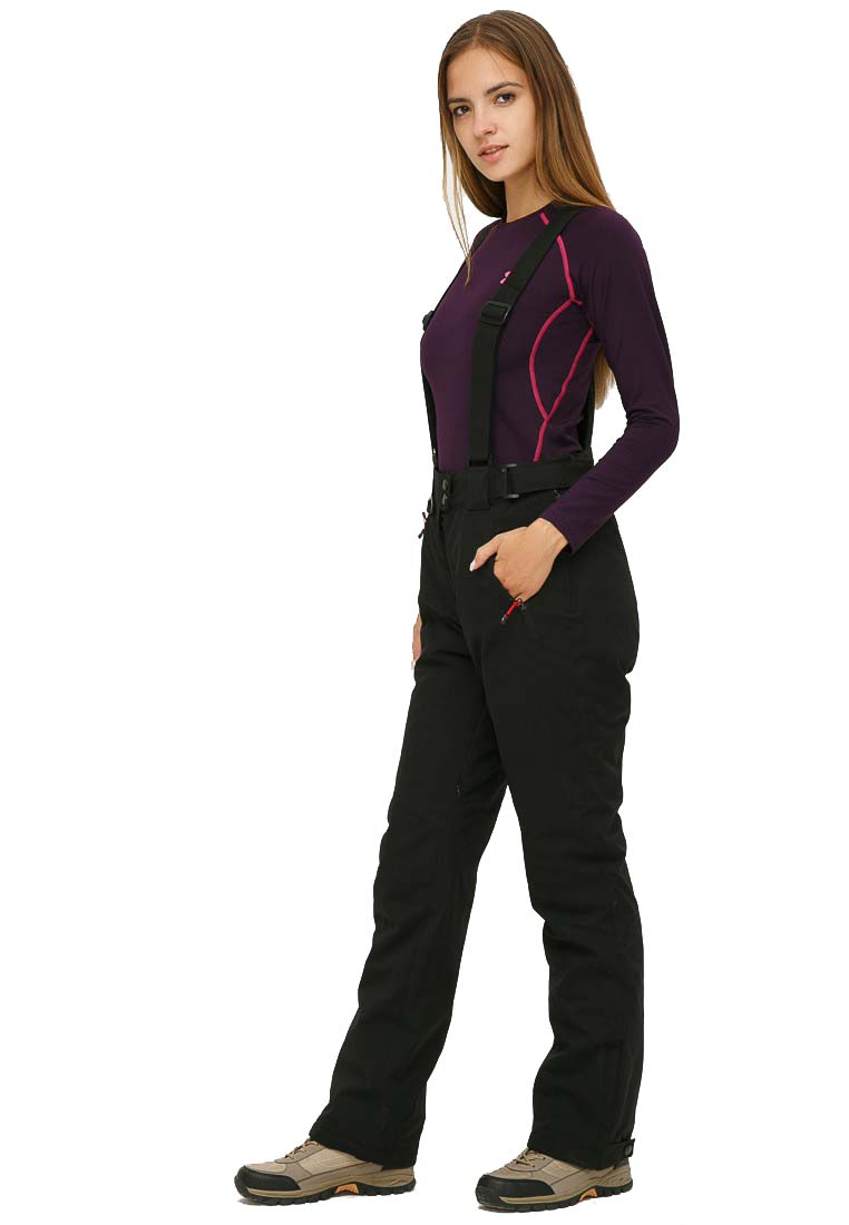 Купить оптом Брюки горнолыжные женские большого размера черного цвета 1878Ch в Перми