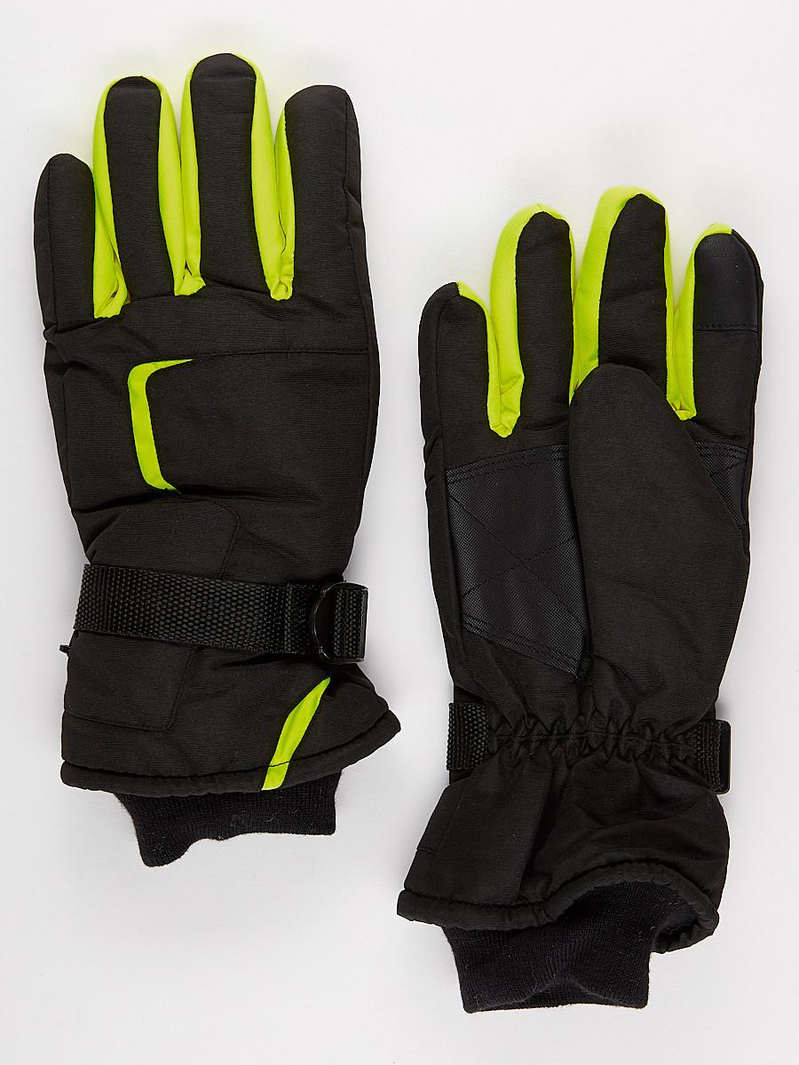 Перчатки мужские горнолыжные черного цвета 907Ch