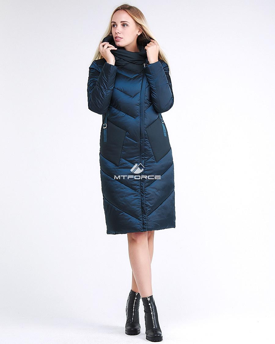 Купить оптом Куртка зимняя женская классическая темно-зеленого цвета 9102_03TZ в Екатеринбурге