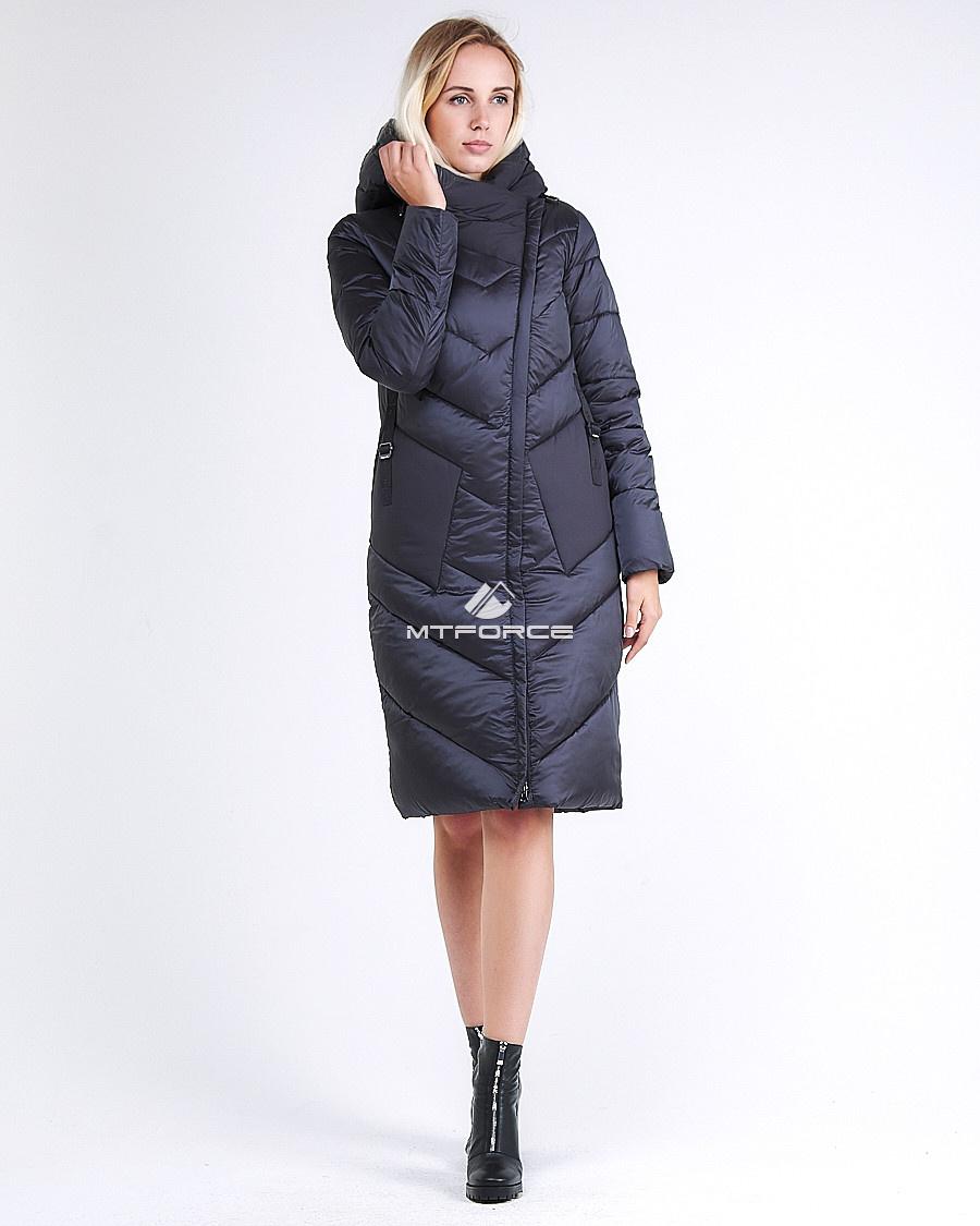 Купить оптом Куртка зимняя женская классическая темно-серого цвета 9102_29TС в Казани