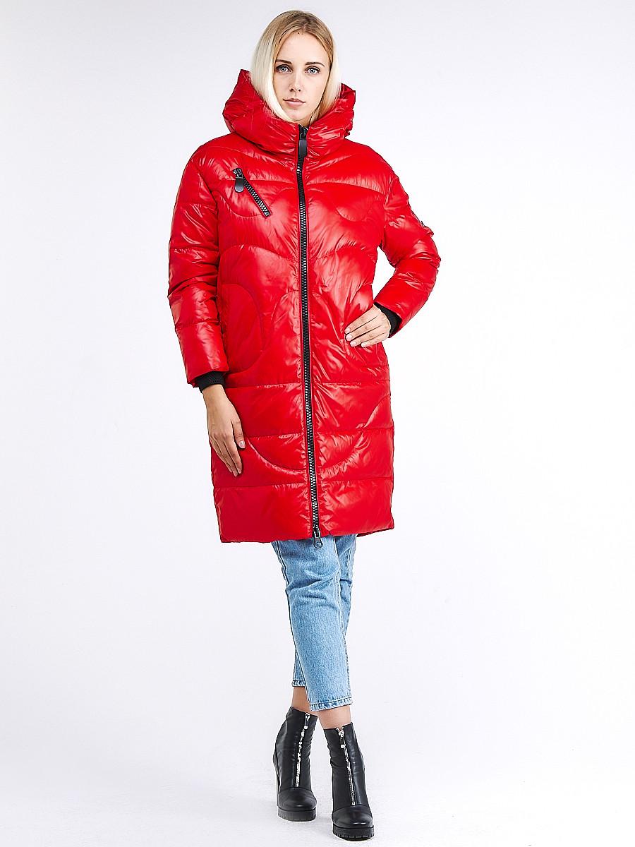 Купить оптом Куртка зимняя женская молодежная красного цвета 9131_14Kr в Казани