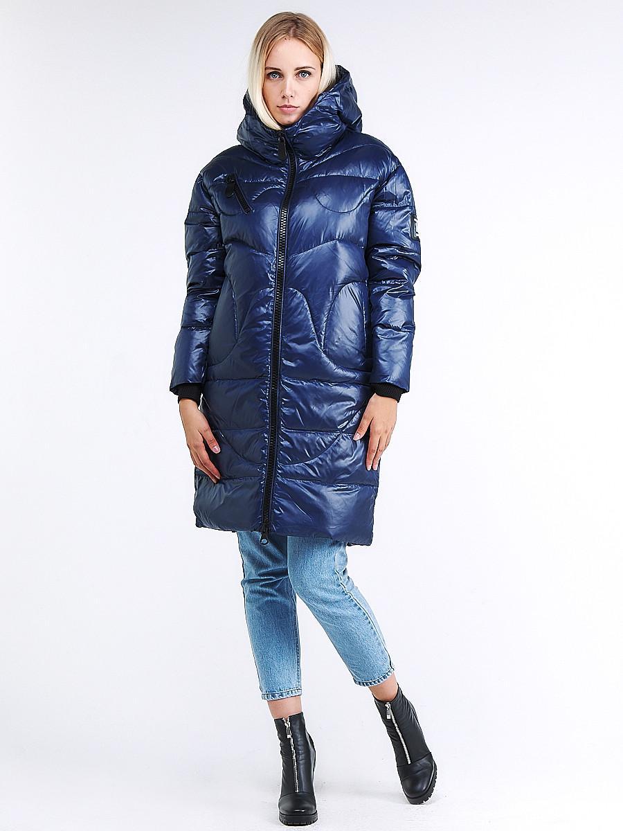 Купить оптом Куртка зимняя женская молодежная темно-синего цвета 9131_22TS в  Красноярске