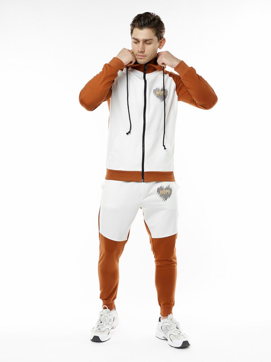 Купить оптом Спортивный костюм трикотажный коричневого цвета 9150K