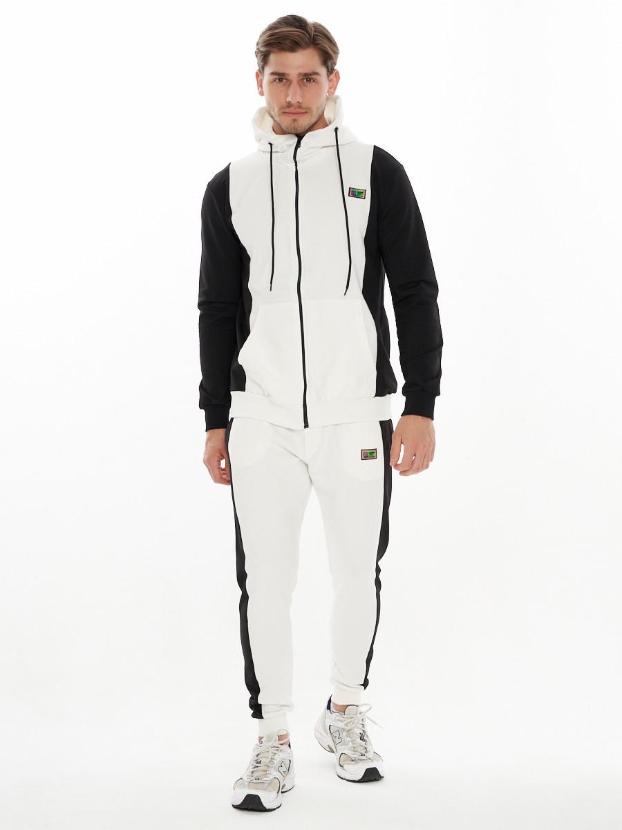 Купить оптом Спортивный костюм трикотажный белого цвета 9154Bl