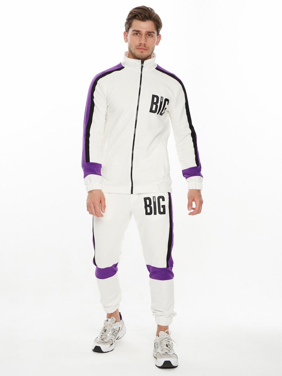 Купить оптом Спортивный костюм трикотажный белого цвета 9156Bl