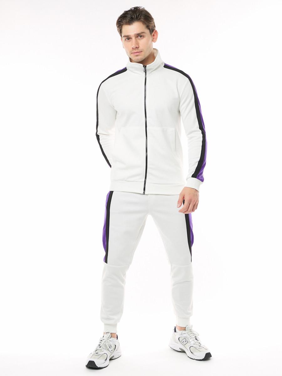 Купить оптом Спортивный костюм трикотажный белого цвета 9157Bl
