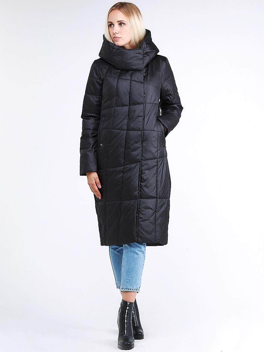 Купить оптом Куртка зимняя женская молодежная стеганная черного цвета 9163_01Ch в Екатеринбурге