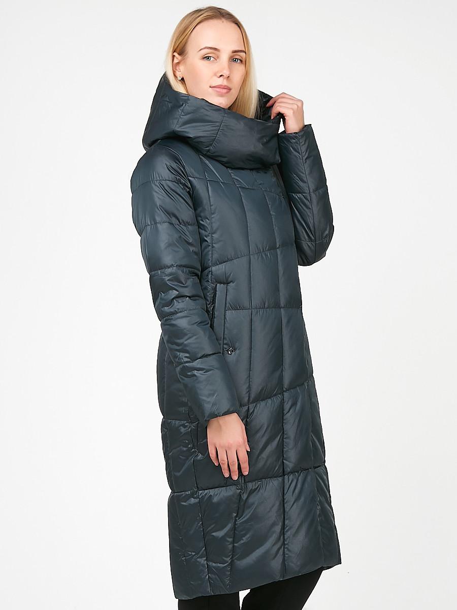 Купить оптом Куртка зимняя женская молодежная стеганная темно-серого цвета 9163_03TC